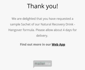 Free Sample Prevent Hangovers