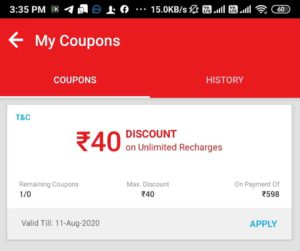 Airtel Thanks Recharge Offer