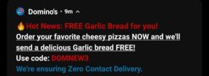 Free Garlic Bread Dominos