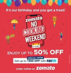 Zomato No Cooking Weekend Offer