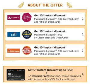 [Upgrade] Amazon Great Indian Sale - 10% Discount Axis/ City/ ICICI Bank