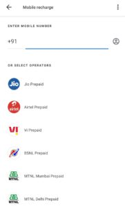 Google Pay Mobile Recharge Offer