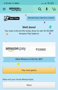 Amazon Valentines Carnival Quiz Answers