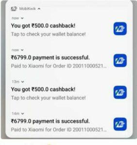 Mobikwik Mi Cashback Offer