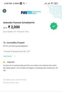 JioAutoPay Cashback Offer