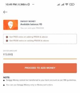 Swiggy Add Money Offer