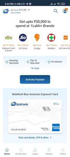 Mobikwik Blue American Express Card Offers