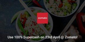 Zomato Food Cashback Offer