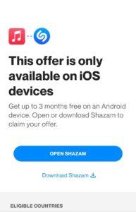 Shazam Apple Music Offer