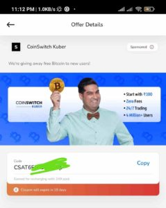 Airtel Thanks CoinSwitch Kuber Coupon Free