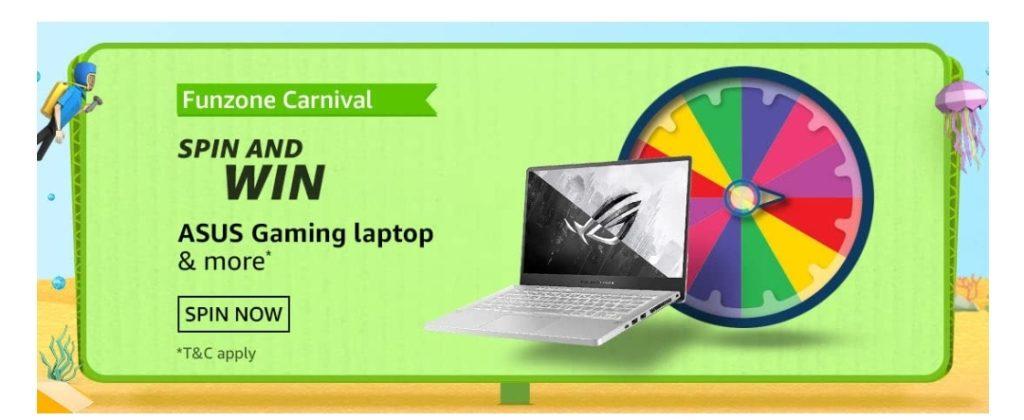 Amazon Funzone Carnival Spin and Win - Apple Macbook Pro & more